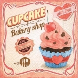 0Servilleta decoupage Cupcake with love