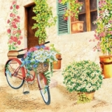 0Servilleta decoupage Flower bike new