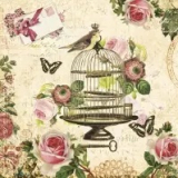 0Servilleta decoupage Bird and vintage cage
