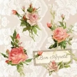 0Servilleta decoupage Roses on lace