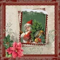 0Servilleta decoupage Santa stamp