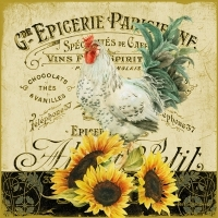 0Servilleta decoupage Rooster & Sunflowers