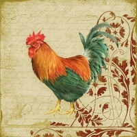 0Servilleta decoupage Rooster & ornaments