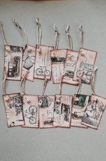 0Pack tags cartulina Vintage 12 unid.