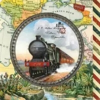 0Servilleta decoupage Travel engine