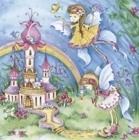 0Servilleta decoupage Fairies with castle