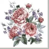 Servilleta decoupage English painted roses